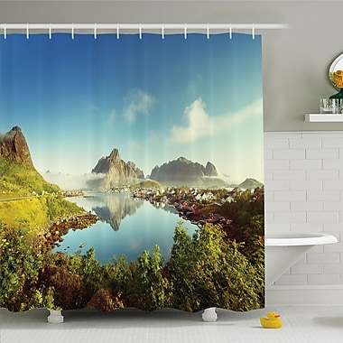 Nash Reine Creek in Norway in a Sunny Fall Day Tranquil Peaceful Vacation Image Shower Curtain Set