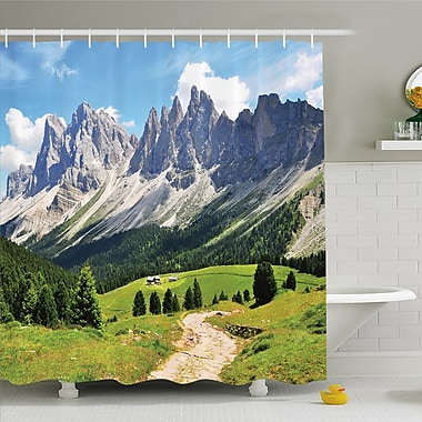 Nash Winding Path into Pine Tree Forest Meadows and Mountain Scenery Print Shower Curtain Set