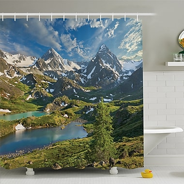 Nash Lake Between Snowy Altai Range of Mountains Siberia Meadow in Nature Artwork Shower Curtain Set