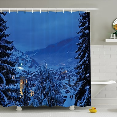 Nash, Winter Pine Trees Forest in European Woodland by the Mountains Nature Print Shower Curtain Set