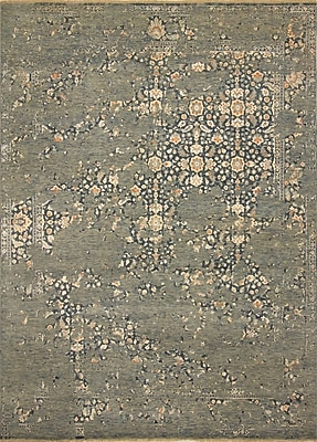 Bungalow Rose Dravis Hand Knotted Rectangle Wool Green/Blue Area Rug