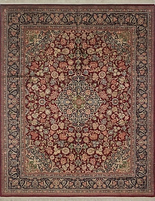 Astoria Grand Sattler Hand Knotted Wool Red Area Rug