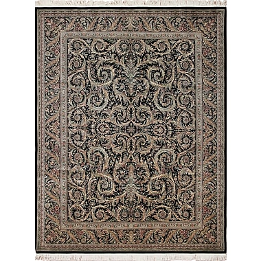Astoria Grand Rocher Hand Knotted Wool Black Area Rug