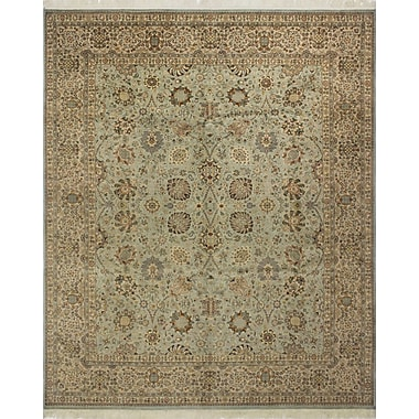 Astoria Grand Roquemore Hand Knotted Wool Green/Blue Area Rug
