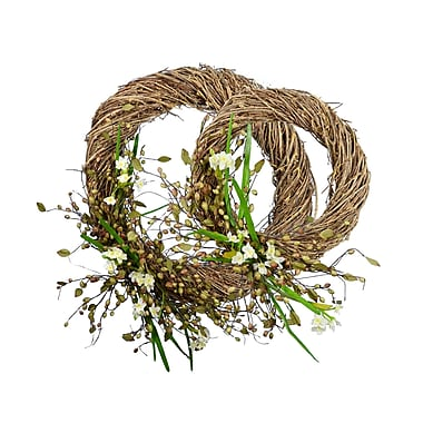 One Allium Way Narcissus 2 Piece Wreath Set; Green