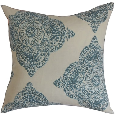 One Allium Way Pepin Damask Cotton Blend Floor Pillow; Aqua