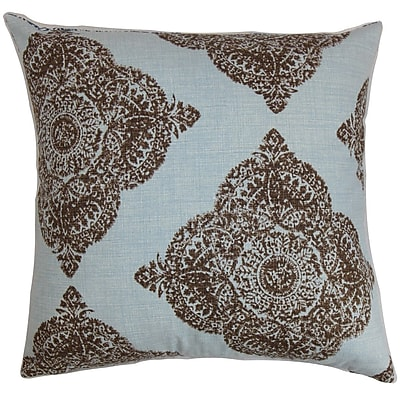 One Allium Way Pepin Damask Cotton Blend Floor Pillow; Chambray