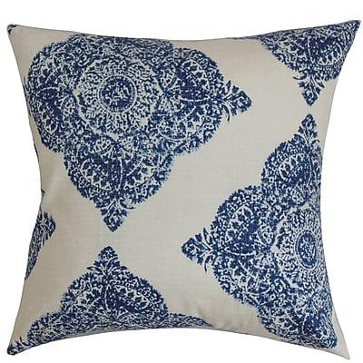 One Allium Way Pepin Damask Cotton Blend Floor Pillow; Indigo