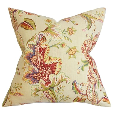 One Allium Way Penton Floral Cotton Blend Floor Pillow; Green/Red