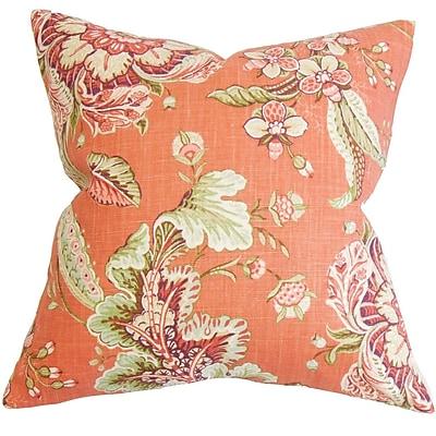 One Allium Way Penton Floral Cotton Blend Floor Pillow; Orange
