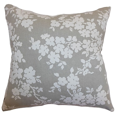 One Allium Way Perillo Floral Cotton Blend Floor Pillow; Smoke