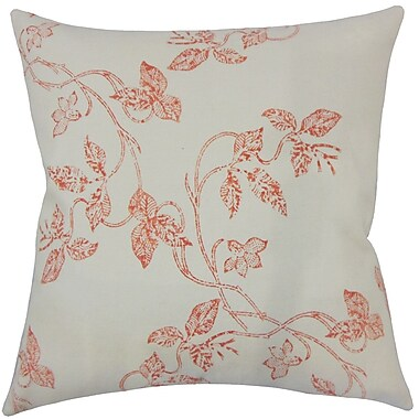 One Allium Way Pesina Floral Floor Pillow Chambray; Pepper