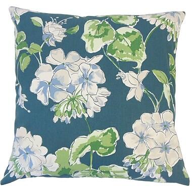 One Allium Way Cesare Floral Down Filled 100pct Cotton Lumbar Pillow; Lagoon
