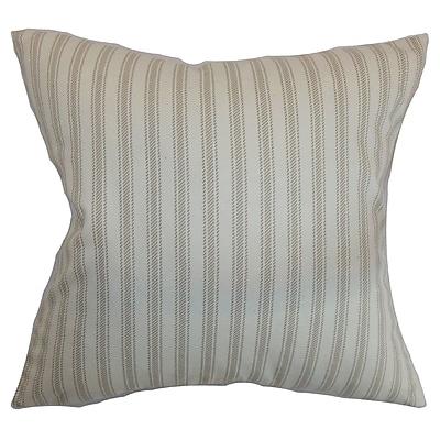 Red Barrel Studio Salisbury Stripes Cotton Blend Floor Pillow; Maple/Natural