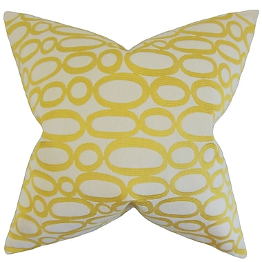 Red Barrel Studio Penshire Geometric Cotton Blend Floor Pillow; Lemon