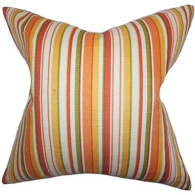 Red Barrel Studio Pemberton Stripes Cotton Blend Floor Pillow; Orange