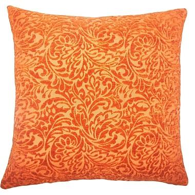 Red Barrel Studio Sagebrush Damask Cotton Blend Floor Pillow; Tangerine