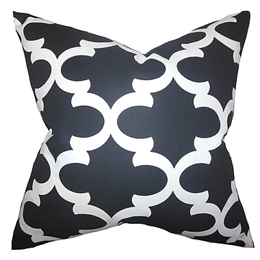 Red Barrel Studio Houseknecht Geometric Cotton Blend Floor Pillow; Black/White