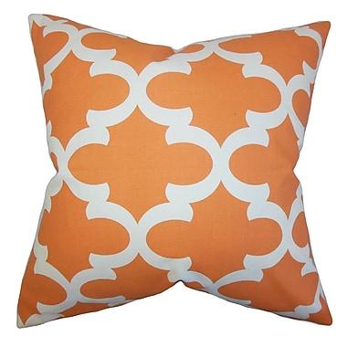 Red Barrel Studio Houseknecht Geometric Cotton Blend Floor Pillow; Orange