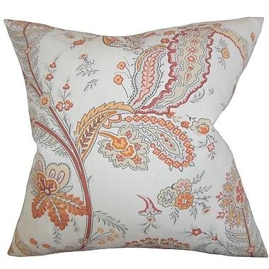 Red Barrel Studio Housman Floral Cotton Blend Floor Pillow; Orange