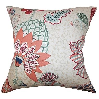 Red Barrel Studio Ingersoll Floral Cotton Blend Floor Pillow; Mint Red