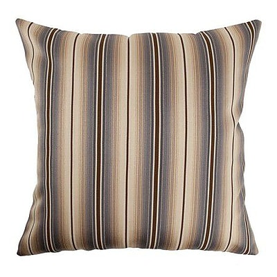Red Barrel Studio Aaron Stripes Cotton Blend Floor Pillow; Blue/Brown