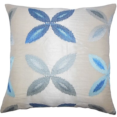 Red Barrel Studio Addison Avenue Ikat Cotton Blend Floor Pillow; Blue