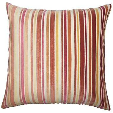 Red Barrel Studio Adelia Striped Cotton Blend Floor Pillow; Melon