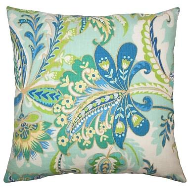 Red Barrel Studio Adelina Floral Cotton Blend Floor Pillow; Lagoon