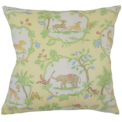 Zoomie Kids Folsom Floral Down Filled 100pct Cotton Throw Pillow; 18'' x 18''