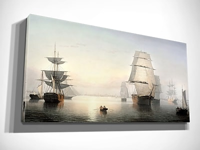 Alcott Hill 'Boston Harbor' Oil Painting Print on Wrapped Canvas; 24'' H x 40'' W