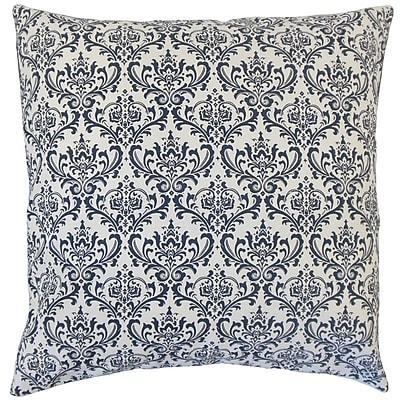 Rosdorf Park Janine Damask Cotton Blend Floor Pillow; Navy