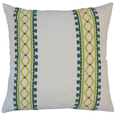 Union Rustic Kinser Geometric Down Filled 100pct Cotton Lumbar Pillow; Palm