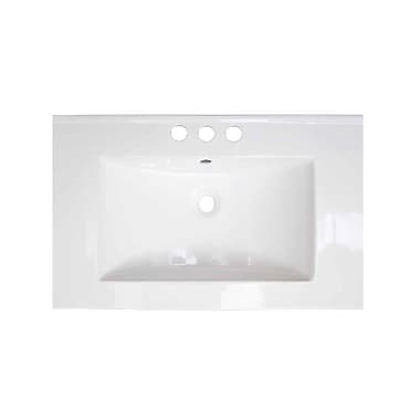 American Imaginations Vee Ceramic 21'' Single Bathroom Vanity Top; 8'' Centers