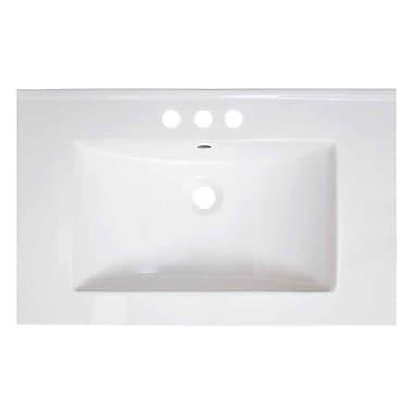 American Imaginations Vee Ceramic 30'' Single Bathroom Vanity Top; 4'' Centers