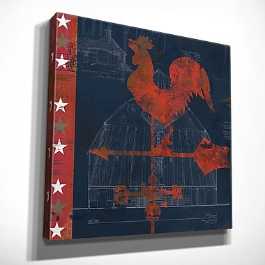 August Grove 'Rooster Vane' Graphic Art Print on Wrapped Canvas; 16'' H x 16'' W