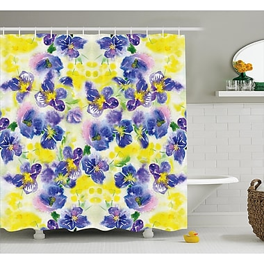 August Grove Menyauthe Butterfly Flower House Decor Shower Curtain; 69'' H x 75'' W