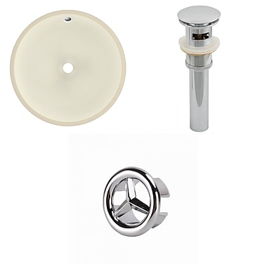 American Imaginations Circular Undermount Bathroom Sink w/ Overflow; Chrome