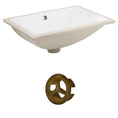 American Imaginations Rectangular Undermount Bathroom Sink w/ Overflow; Antique Brass