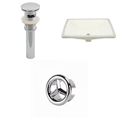 American Imaginations Rectangular Undermount Bathroom Sink w/ Overflow; Chrome