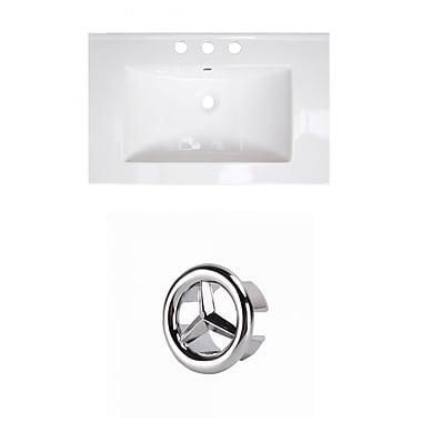 American Imaginations Flair Ceramic 25'' Single Bathroom Vanity Top; 8'' Centers