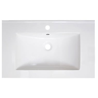 American Imaginations Vee Ceramic 30'' Single Bathroom Vanity Top; Single Hole