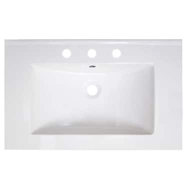 American Imaginations Vee Ceramic 30'' Single Bathroom Vanity Top; 8'' Centers