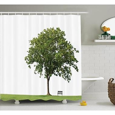 Ebern Designs Clovis Bench Under Majestic Tree Decor Shower Curtain; 69'' H x 70'' W