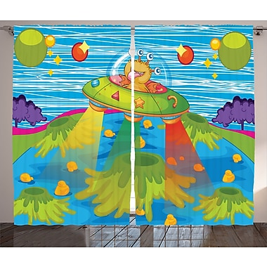 East Urban Home Cartoon D cor Graphic Print Room Darkening Rod Pocket Curtain Panels (Set of 2)