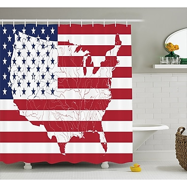 East Urban Home Stars and Stripes Decor Shower Curtain; 69'' H x 84'' W