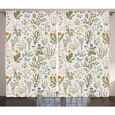 East Urban Home Herbs Room Darkening Rod Pocket Curtain Panels (Set of 2); 54'' x 84''