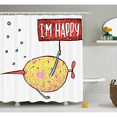 East Urban Home I'm Happy Decor Shower Curtain; 69'' H x 70'' W