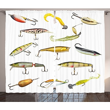 East Urban Home Fishing Tackle Decor Wildlife Room Darkening Rod Pocket Curtain Panels (Set of 2)