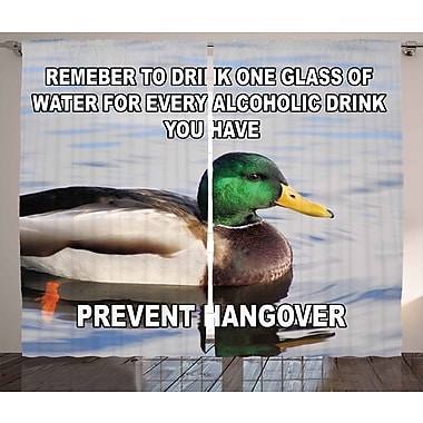 Prevent Hangover Decor Graphic Print and Text Room Darkening Rod Pocket Curtain Panels (Set of 2)